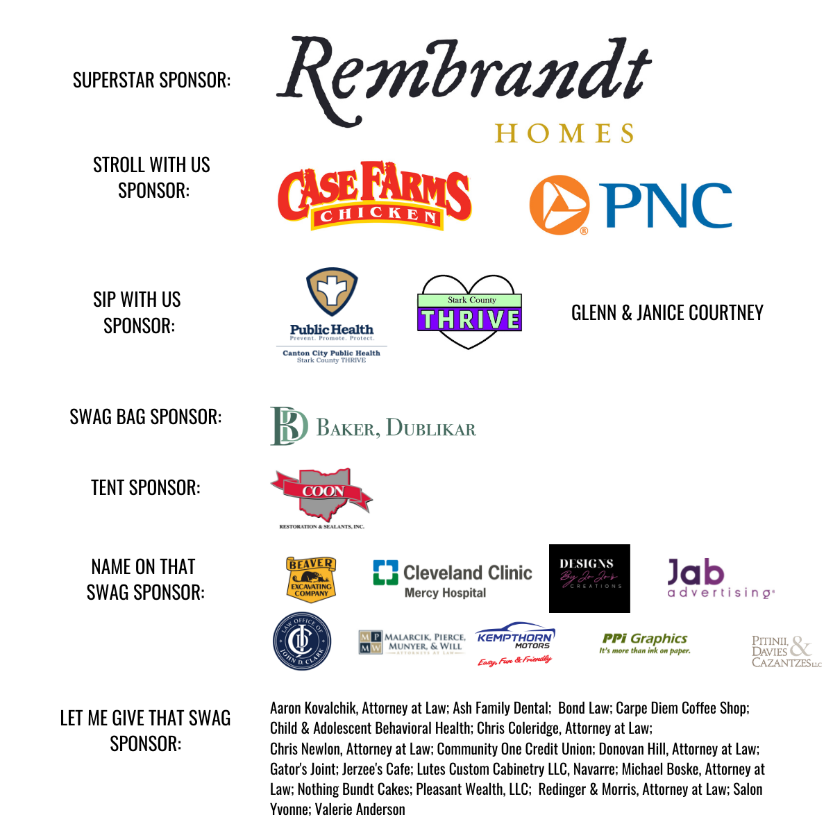 2021 Sip and Stroll Sponsors updated